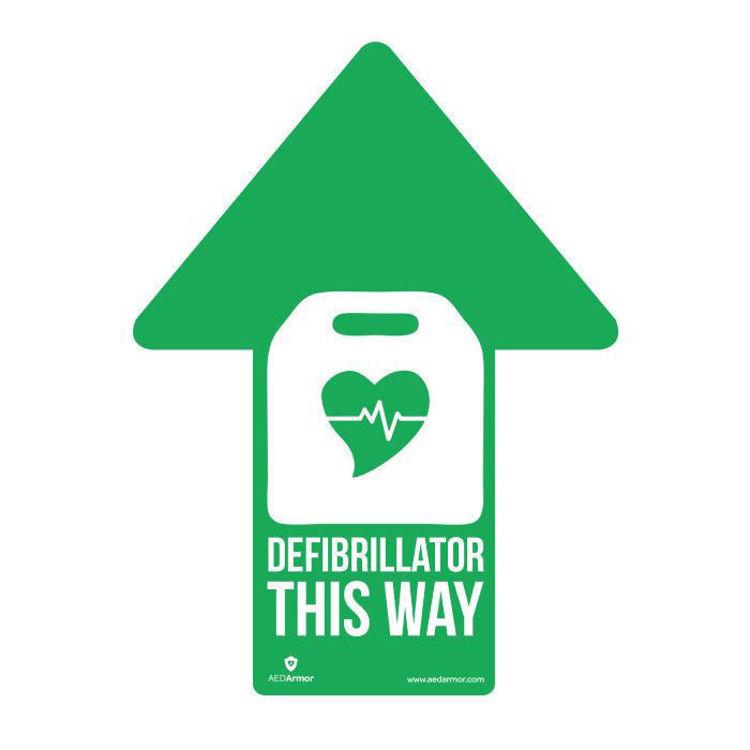 Green arrow defibrillator sticker
