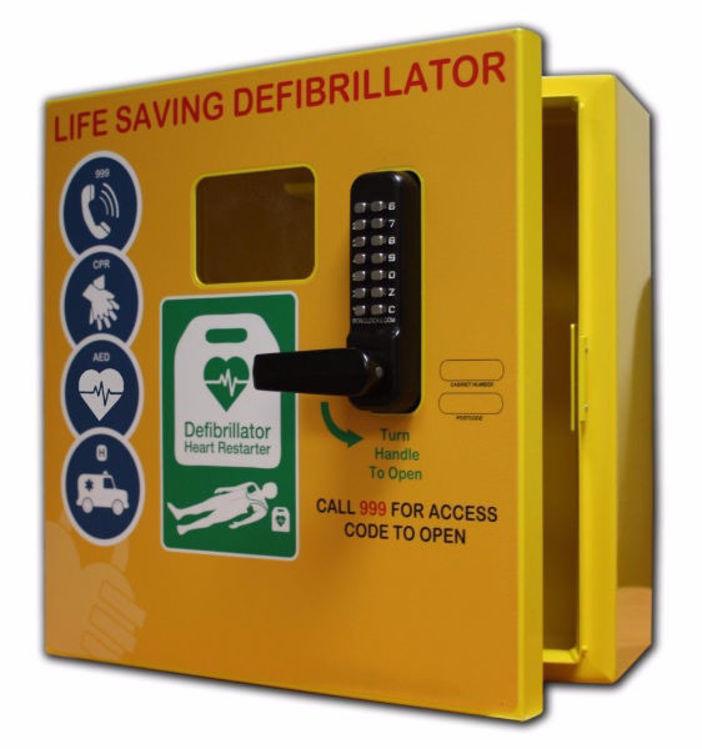 Outdoor yellow defibrillator cabinet