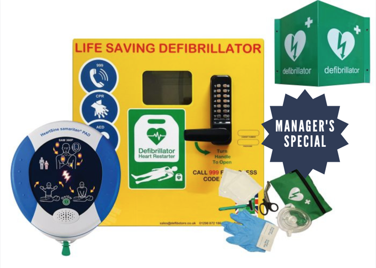 Defibrillator and cabinet package