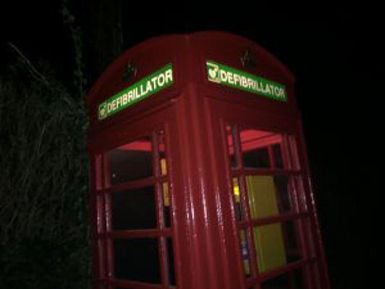 Phone Box Defibrillator Signs