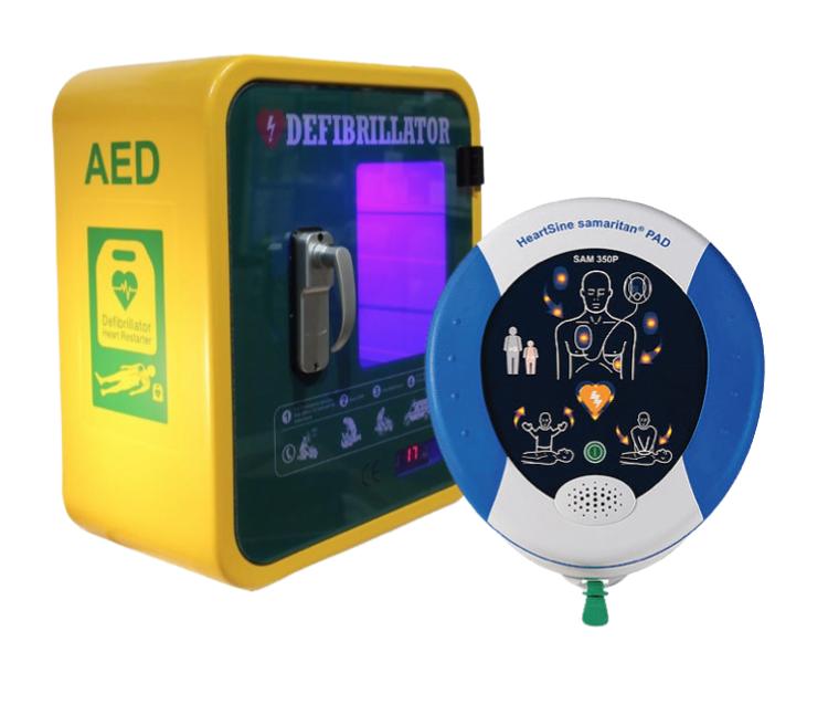 Heartsine Samaritan PAD 350p Semi Automatic Defibrillator with Outdoor Durafib Unlocked Cabinet