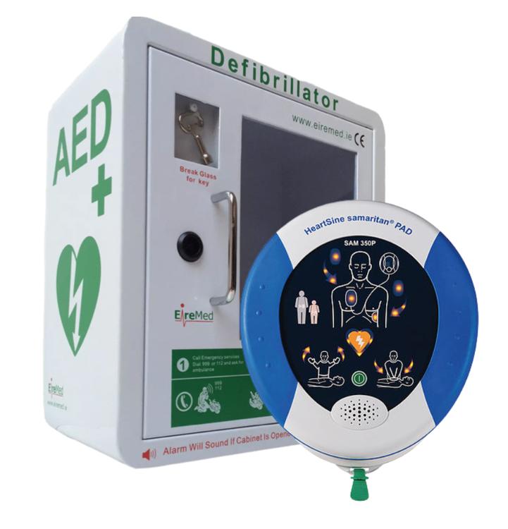 HeartSine 350P defibrillator with Locked Cabinet