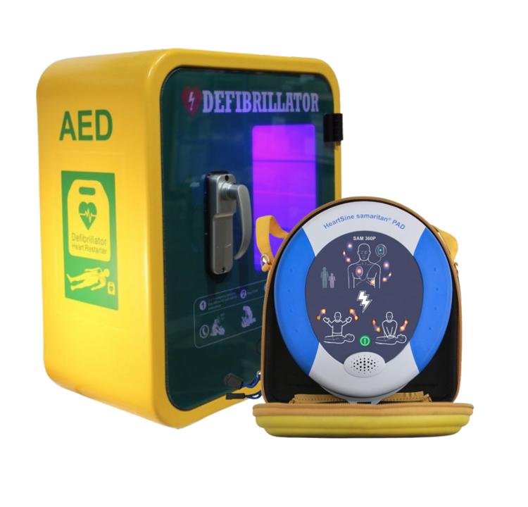 HeartSine Samaritan PAD 360p Defibrillator with Outdoor Unlocked Cabin