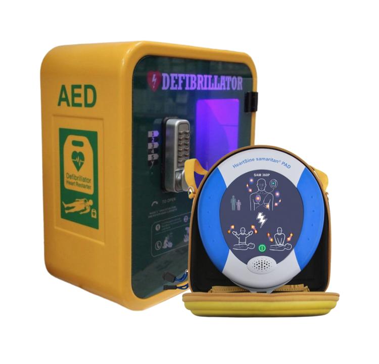 HeartSine Samaritan PAD 360p Defibrillator with Outdoor Locked Cabinet