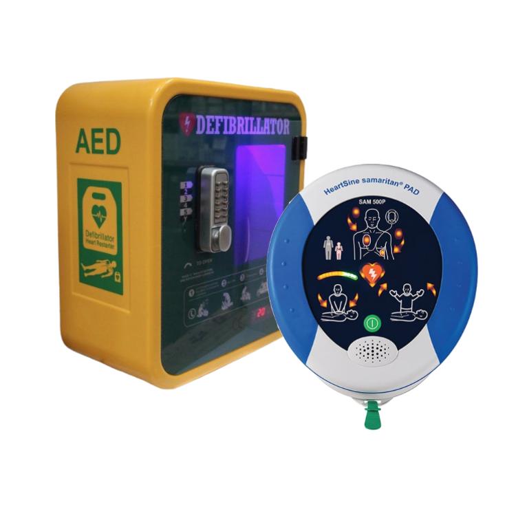 HeartSine Samaritan PAD 500P Defibrillator with Outdoor Locked Cabinet
