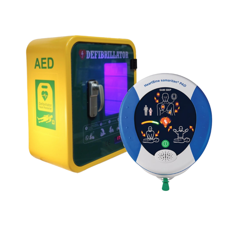 HeartSine Samaritan PAD 500P Defibrillator with Outdoor Unlocked Cabinet